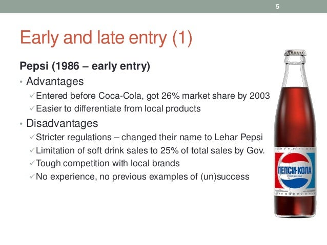 coca cola market entry mode Since 1996, coca-cola company began fraying away from its main product of soft drinks and began producing different drinks contributions to china ( market research in china ) coca-cola helped promote the development of the local drink industry before coca-cola and pepsi entered china, people.