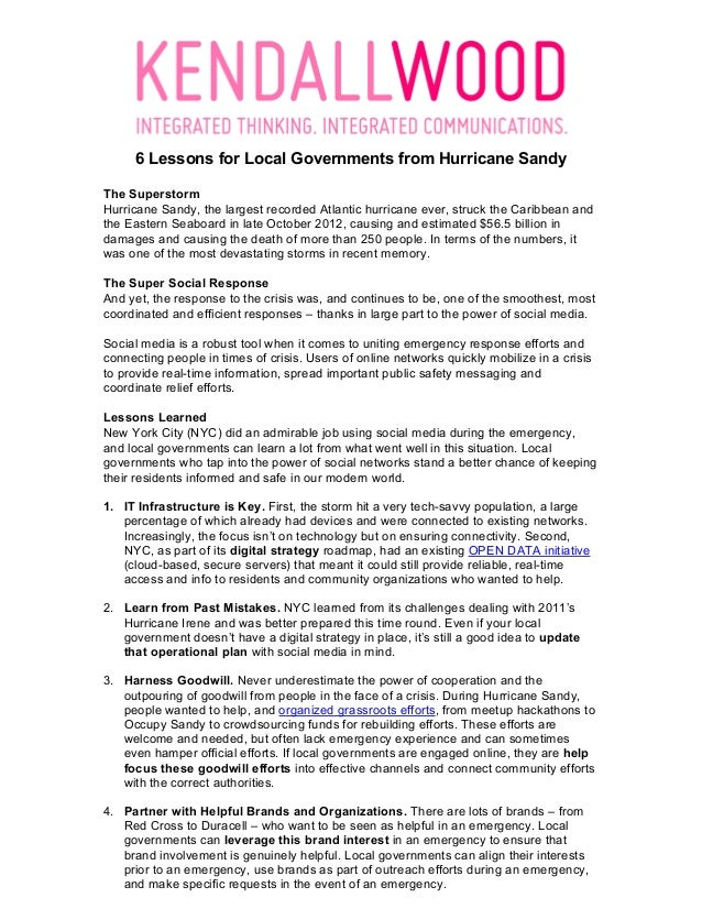 6 Lessons for Local Governments from Hurricane SandyThe SuperstormHurricane Sandy, the largest recorded Atlantic hurrica...