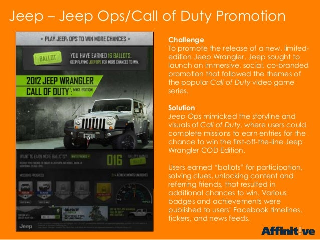 ChallengeTo promote the release of a new, limited-edition Jeep Wrangler, Jeep sought tolaunch an immersive, social, co-bra...