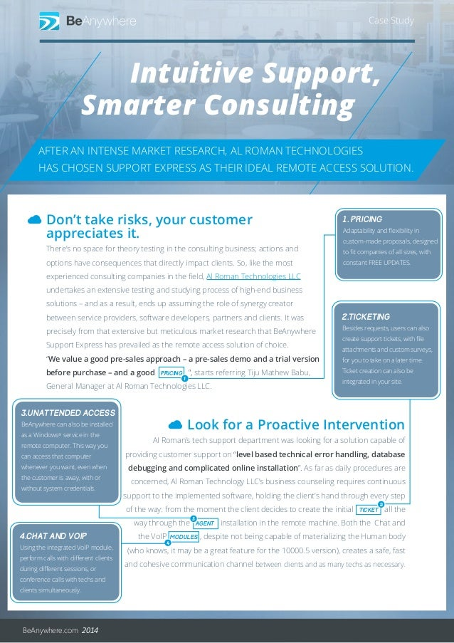 Intuitive Support, Case Study Smarter Consulting BeAnywhere.com 2014 AFTER AN INTENSE MARKET RESEARCH, AL ROMAN TECHNOLOGI...