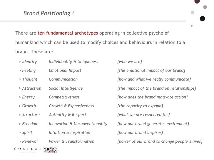 Brand Positioning ?  There are  ten fundamental archetypes  operating in collective psyche of humankind which can be used ...