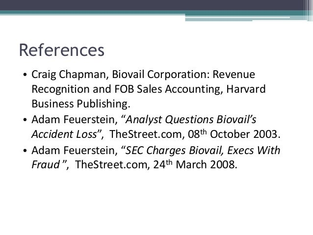 case 1 biovail corporation revenue recognition and fob sa Case study biovail 1 case study biovail corporation revenue recognition and  fob sales accounting group e 2 case overview • biovail.