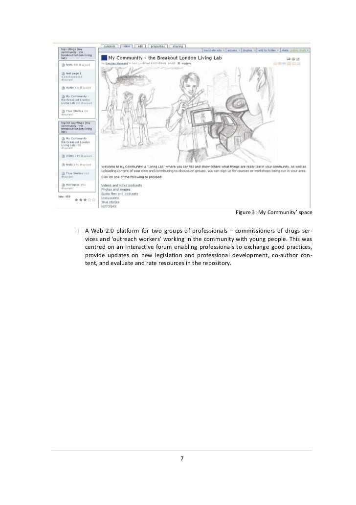 Figure 3: My Community' space  A Web 2.0 platform for two groups of professionals – commissioners of drugs ser-  vices and...