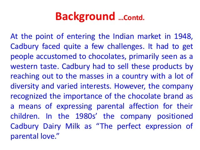 personal selling done by cadbury company Cadbury, formerly cadbury's and cadbury schweppes, is a british multinational confectionery company wholly owned by mondelez international (originally kraft foods) since 2010 it is the second-largest confectionery brand in the world after mars  [2].