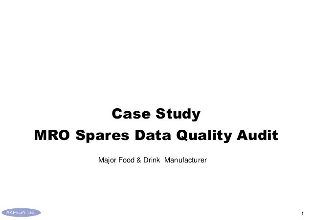Food and Drink MRO Spares Data Audit