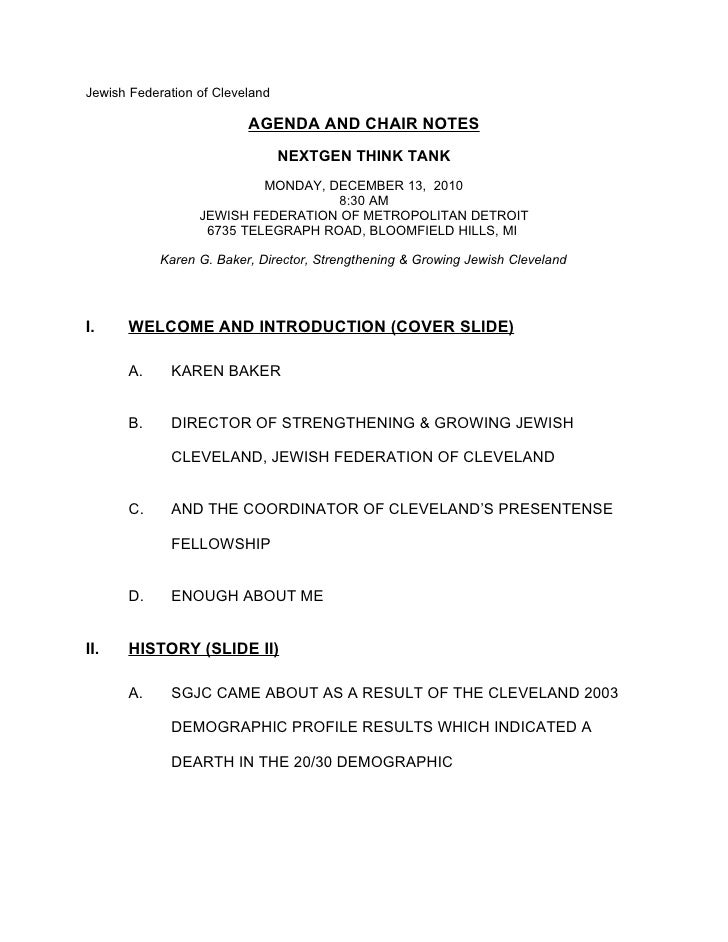 Jewish Federation of Cleveland                          AGENDA AND CHAIR NOTES                                 NEXTGEN THI...