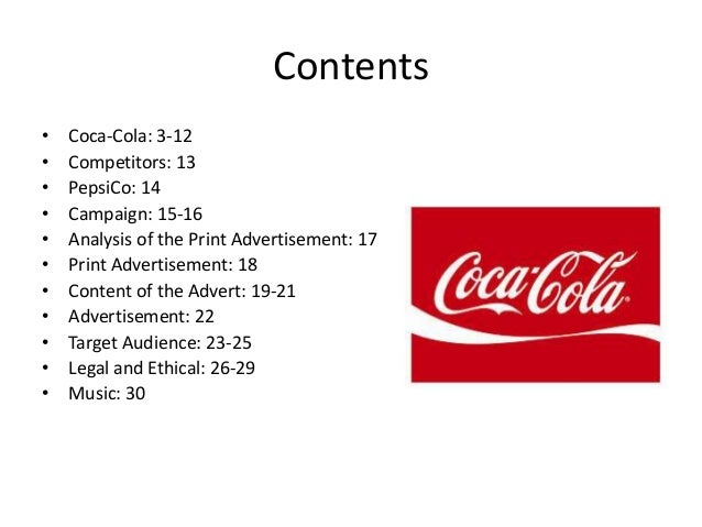 case analysis of coca cola Elon university student and prssa president heather harder won the 2014 arthur w page society case study competition with her analysis of how coca-cola has managed its precarious position she summarized the company's strategy as one of corporate social responsibility.