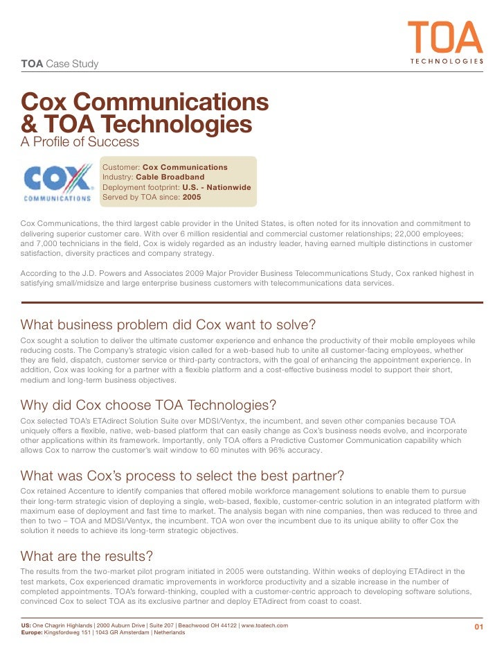 cox communications case study Cox communications cox communications began their relationship with wcm in 1992 it was a critical time for the company they required direction and insight into new.
