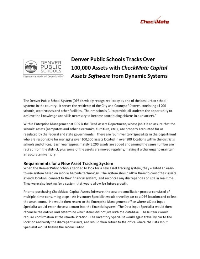 Denver Public Schools Tracks Over                                  100,000 Assets with CheckMate Capital                  ...