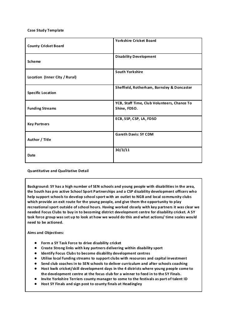 Case Study Template                                                   Yorkshire Cricket BoardCounty Cricket Board         ...