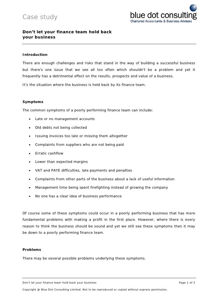 Case study  Don't let your finance team hold back your business    Introduction  There are enough challenges and risks tha...