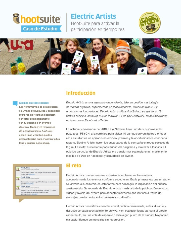 HootSuite Case Study - Electric Artists y HootSuite - Caso de Estudio PSYCH (Spanish, español)