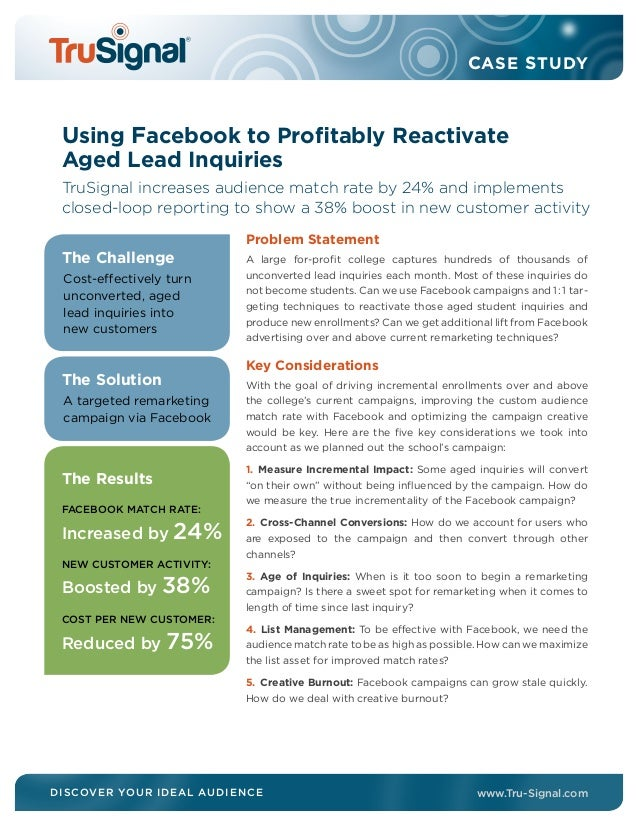 case study facebook a or Vertical video vs horizontal video: a facebook ads case study keerthi - may 11 case study, facebook ads, vertical video as you might have noticed.