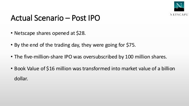 netscape ipo case study essay View notes - netscape ipo case study from fin 324 at binghamton finance 324 case study: netscapes ipo alfred francis lucas hennessey rick piket executive summary the netscape ipo was by no means a.