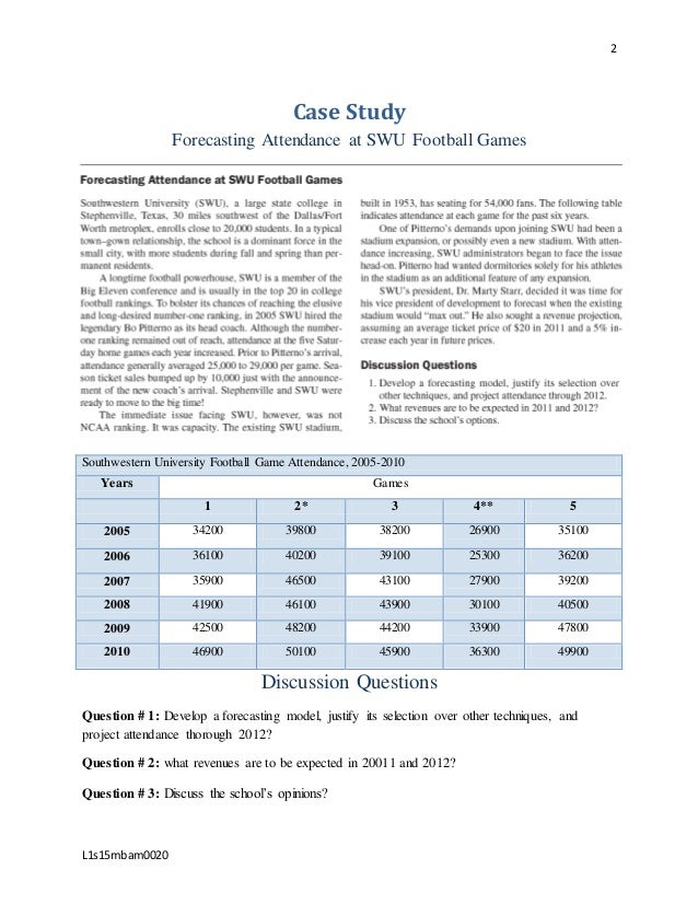 forecasting attendance at swu football games