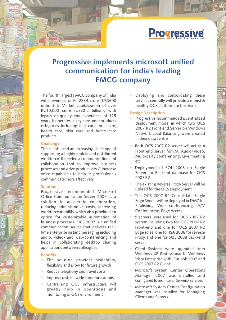 Progressive implements microsoft unified         communication for indias leading                   FMCG companyThe fourth...