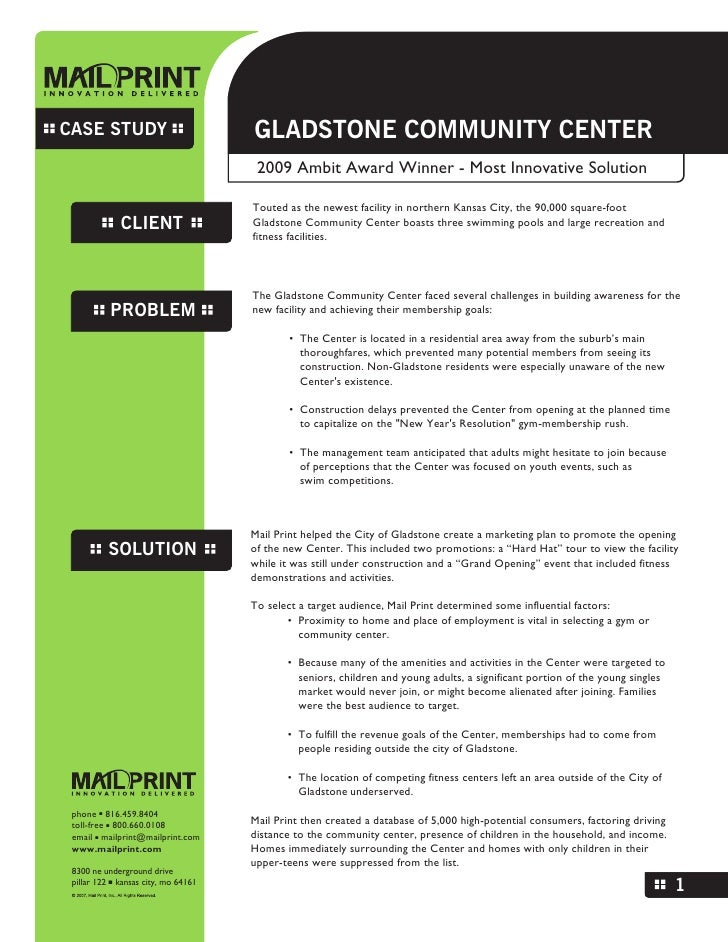 CASE STUDY                            GLADSTONE COMMUNITY CENTER                                        2009 Ambit Award W...