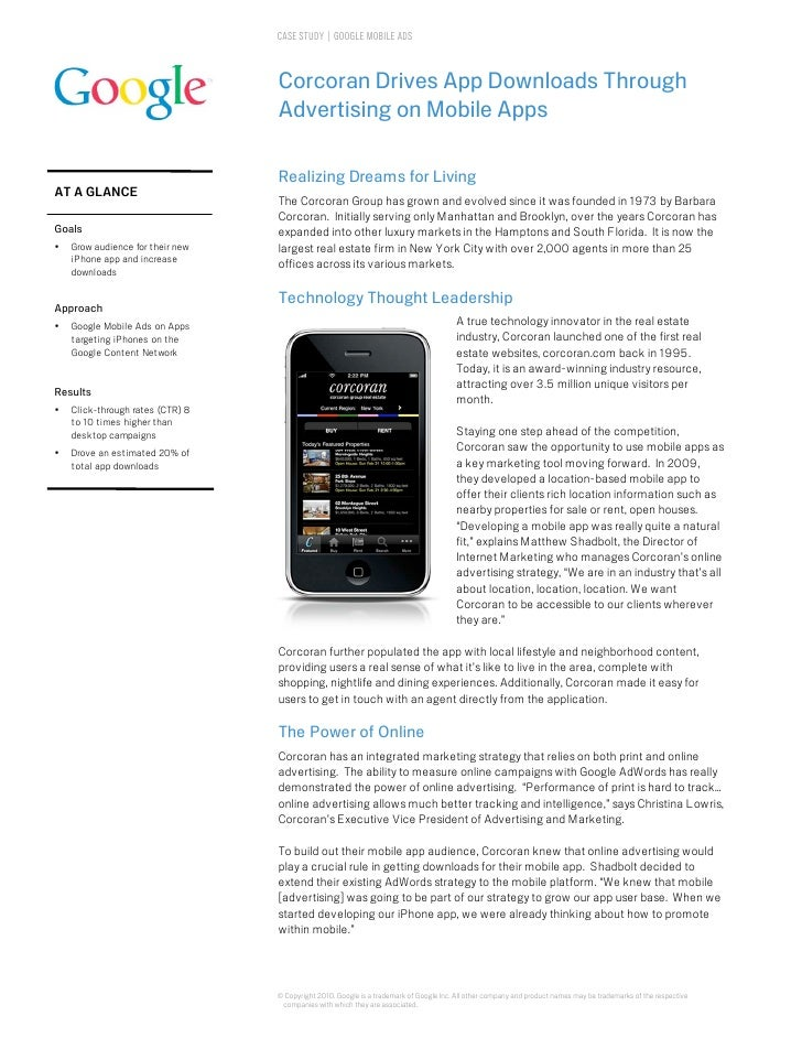 CASE STUDY | GOOGLE MOBILE ADS                                      Corcoran Drives App Downloads Through                 ...