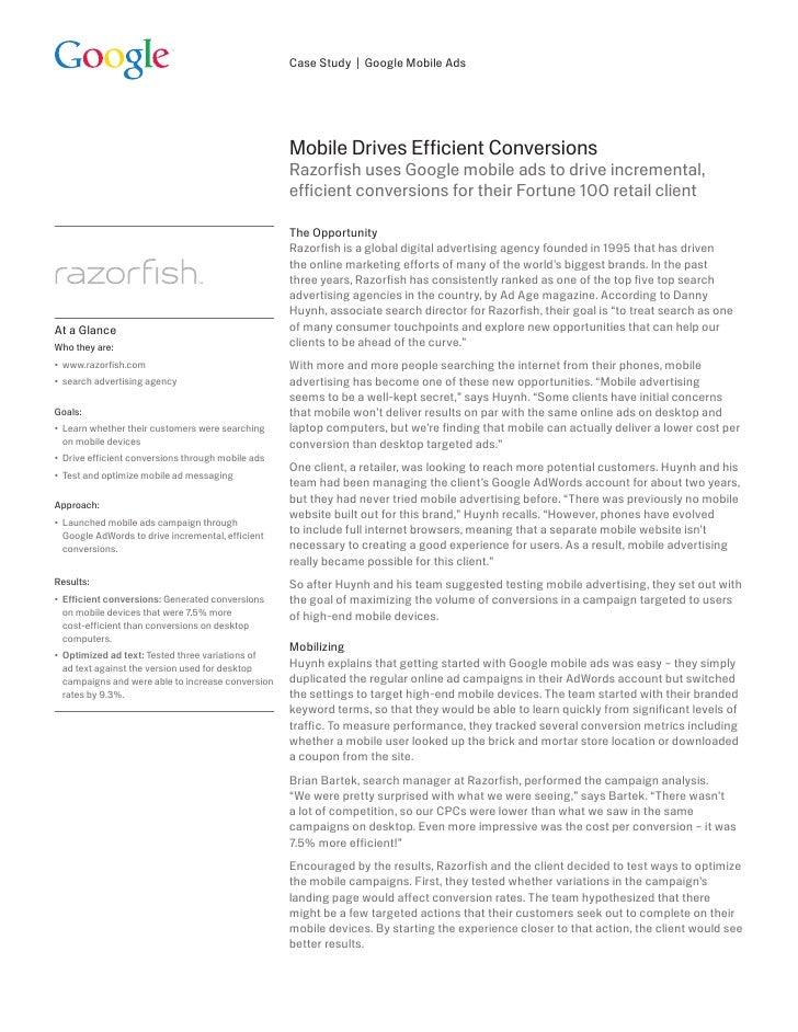 Case Study   Google Mobile Ads                                                         Mobile Drives Efficient Conversions...