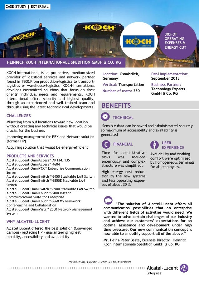 COPYRIGHT @2014 ALCATEL-LUCENT. ALL RIGHTS RESERVED 30% OF OPERATING EXPENSES & ENERGY CUT CASE STUDY | EXTERNAL KOCH-Inte...