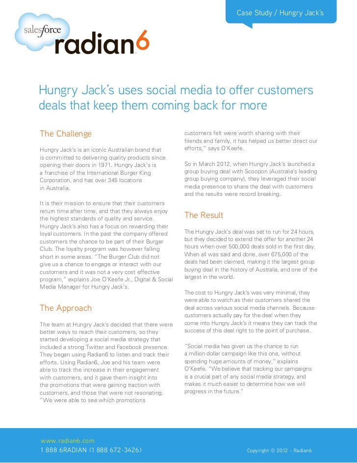 Case Study / Hungry Jack'sHungry Jack's uses social media to offer customersdeals that keep them coming back for moreThe C...