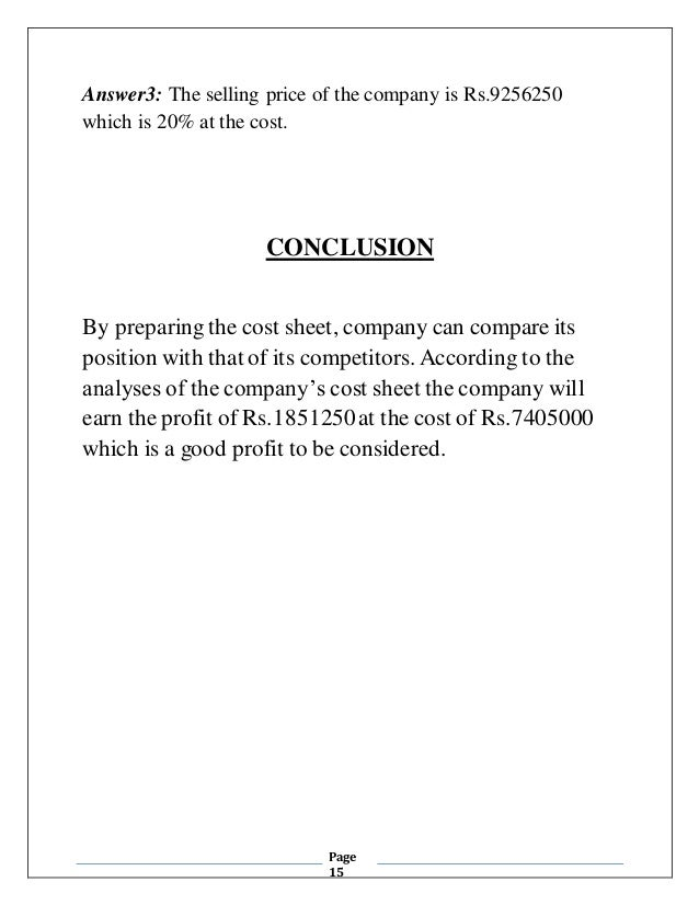 conclusion of cost accounting