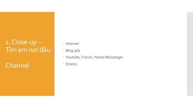 1.Close-up – Tìm em nơi đâu Channel  Internet  Blog 360  Youtube, Forum,Yahoo Messenger  EVents