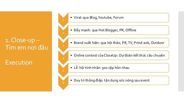 1.Close-up – Tìm em nơi đâu Execution 1 • Viral: qua Blog,Youtube, Forum 2 • Đẩy mạnh: qua Hot Blogger, PR, Offline 3 • Br...