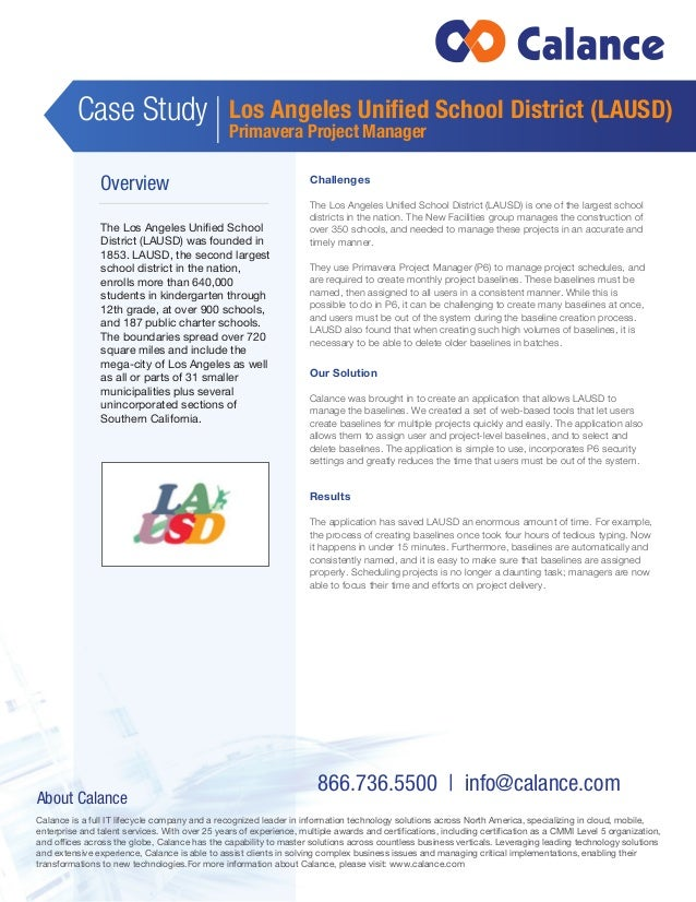 How Calance Simplified Project Management For Lausd