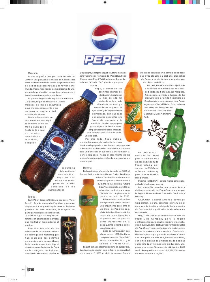 Mercado                                          (Pepsi Light), energéticas (Sobe Adrenaline Rush)              Oldfield s...