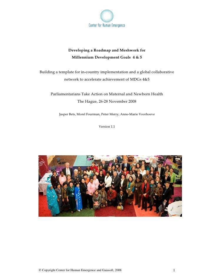 Developing a Roadmap and Meshwork for                       Millennium Development Goals 4 & 5   Building a template for i...