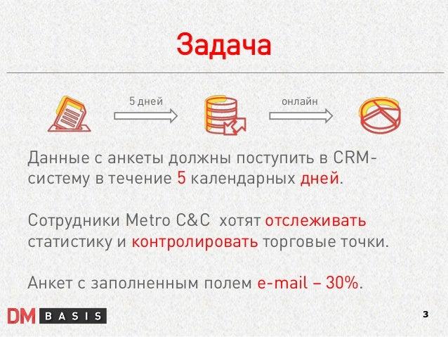 Задача  3  Данные с анкеты должны поступить в CRM- систему в течение 5 календарных дней.  Сотрудники Metro C&C хотят отсле...