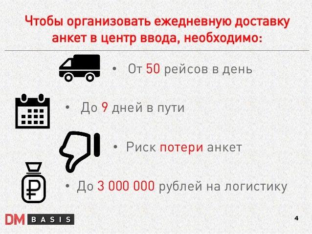 •От 50 рейсов в день  •До 9 дней в пути  •Риск потери анкет  •До 3 000 000 рублей на логистику  Чтобы организовать ежеднев...