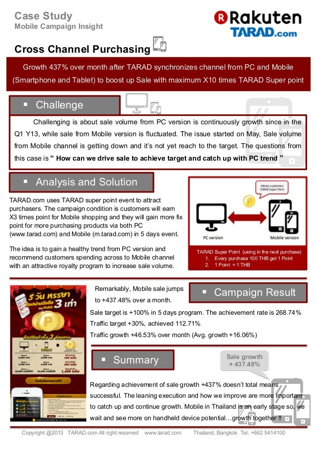 Case Study Mobile Campaign Insight Cross Channel Purchasing § Challenging is about sale volume from PC version is continu...