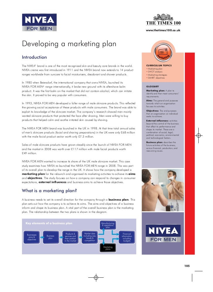 www.thetimes100.co.ukDeveloping a marketing planIntroductionThe NIVEA® brand is one of the most recognised skin and beauty...