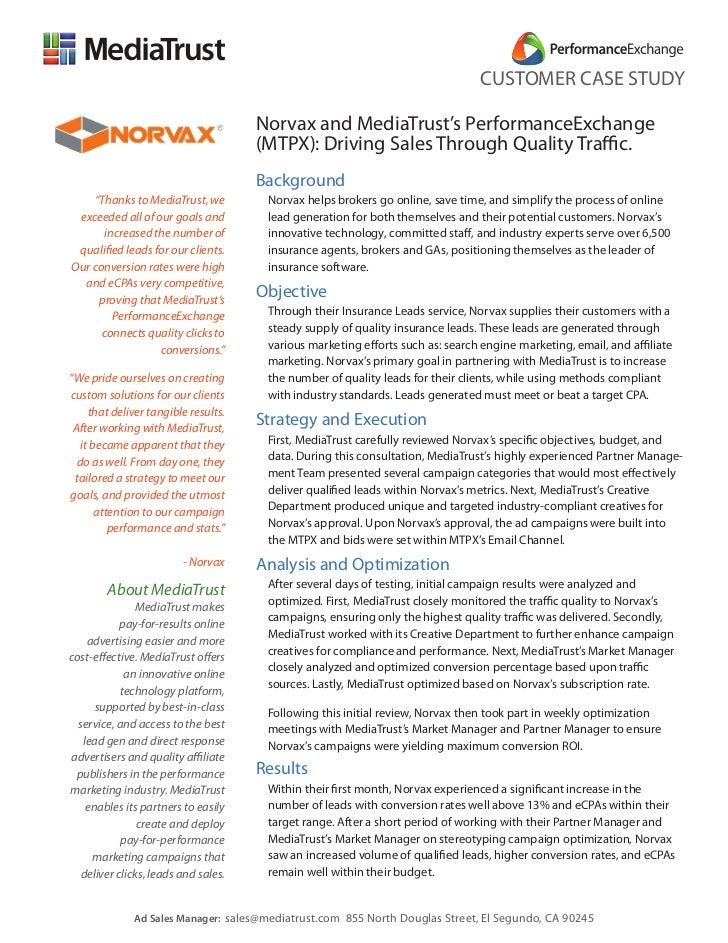 CUSTOMER CASE STUDY                                      Norvax and MediaTrust's PerformanceExchange                      ...