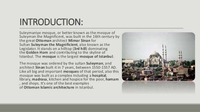 Case study of Islamic center of Rome, Faisal mosque, Suleiman mosque …