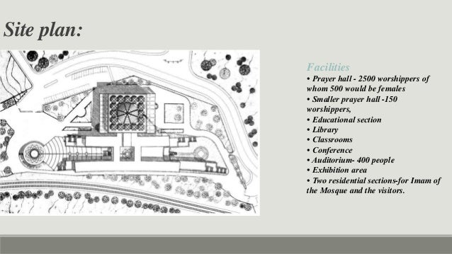 Plan Elevation Section Of Mosque : Case study of islamic center rome faisal mosque