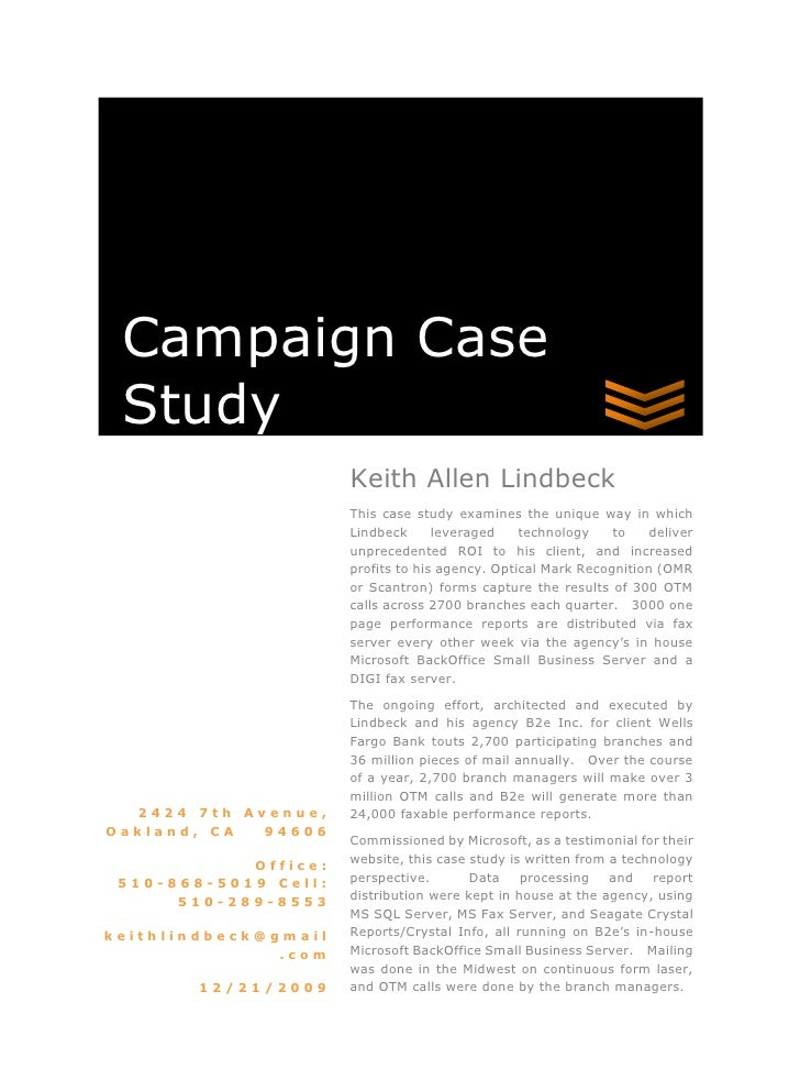 Case Study Of Lindbecks Campaign For A Large Bank Client