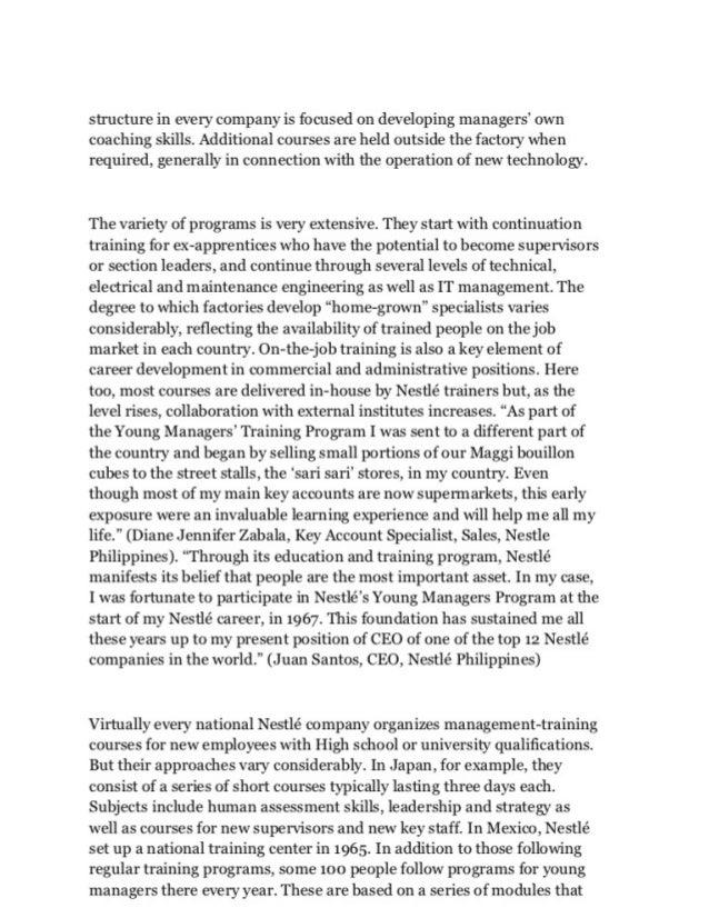 Case study of nestle training and development analysis