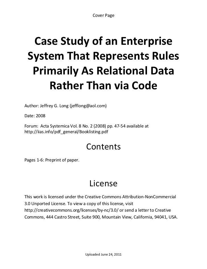 CoverPage     CaseStudyofanEnterprise    SystemThatRepresentsRules     PrimarilyAsRelationalData        Ra...