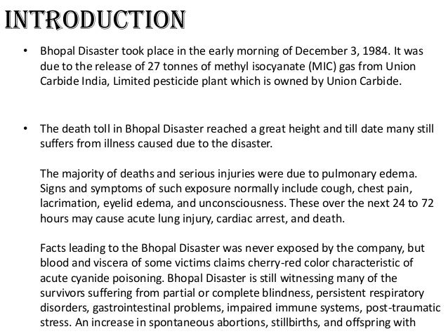 bhopal disaster case study The bhopal disaster learning from failures and  to the root causes of the bhopal disaster of the  the bhopal disaster learning from failures and evaluating.