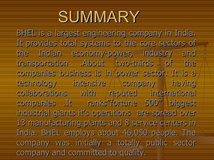 bhel case study Micropro software solutions pvt ltd nagpur bharat heavy electricals limited case study – bharat heavy electricals limited (bhel) overview of the organisation bharat heavy electricals limited (bhel) power sector – western region (pswr) has its headquarters.