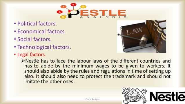 political factors affecting nestle Several factors affect nestlé in its international operations among them political, economic, social, technological, as well as environmental and legal factors, which are significant influences determining the success of operations in modern business environment.