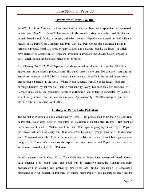 Case study on pepsi co