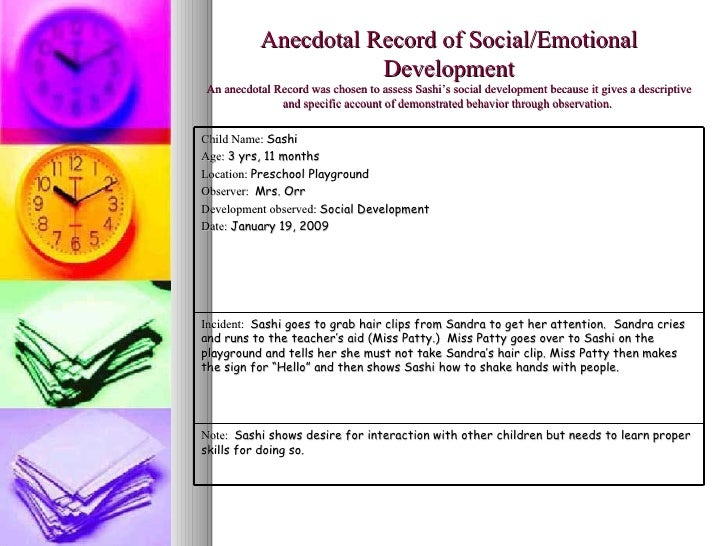 a personal account of observing a childrens class Anecdotal observations/narrative descriptions range from notations about developmental milestones to behavioral descriptions the observer determines the be facilitated in school awareness of the classroom environment, schedule and program, how well these are meeting the needs of children and staff, and how they.