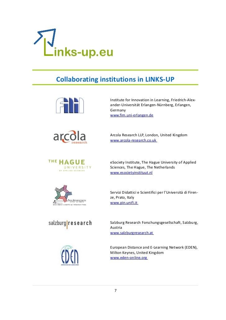 Collaborating institutions in LINKS-UP                 Institute for Innovation in Learning, Friedrich-Alex-              ...