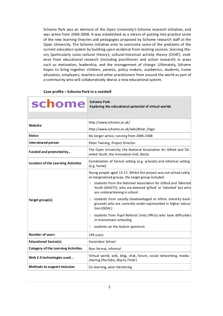 Schome Park was an element of the Open University's Schome research initiative, and          was active from 2006-2008. It...