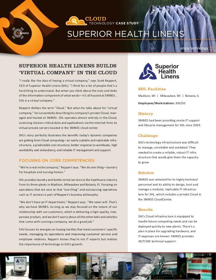 CLOUD                       TECHNOLOGY CASE STUDY                                        SUPERIOR HEALTH LINENS           ...