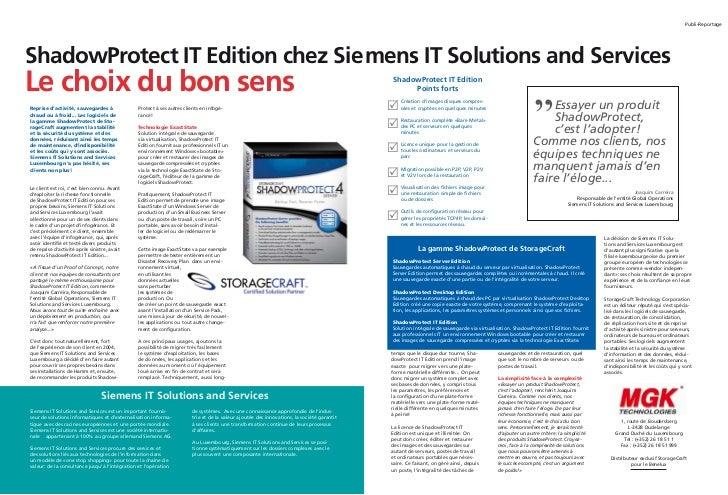 MPubli-ReportageShadowProtect IT Edition chez Siemens IT Solutions and ServicesLe choix du bon sens                      ...